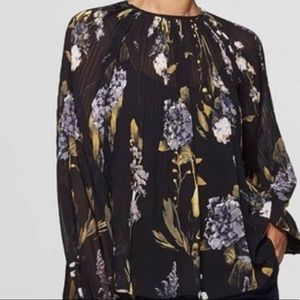 A New Day black Pleated Floral Blouse